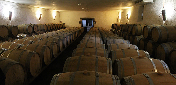 Chateau d'Arche barrel cellar ... a 3-image panorama.