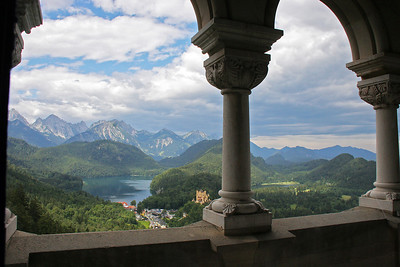 The view from the Neuschwantstein balcony over over Alpensee and Hohenschwangau.