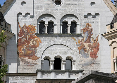 Some of the legend-based decoration on the outside of the castle.  Clearly, St. George on the left.