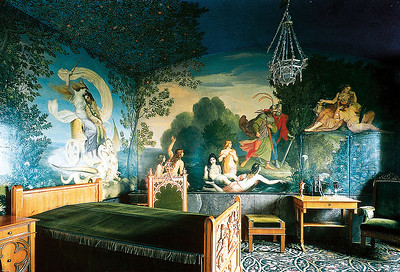 Hohenschwangau interior (purchased photo).  Every room was like this ... the painted scenes almost always came from the Bavarian legends upon which Wagner's operas were based.  Wagner was a contemporary of Mad King Ludwig, and Ludwig admired his work above almost all else in life.