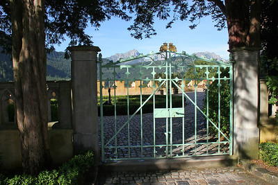 View through the gate of the castle garden.