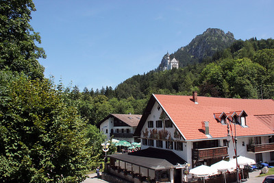 The view from our hotel room in the town of Hohenschwangau.  Up on the mountain you can see our first glimpse of Neuschwanstein, which will be the subject of the next gallery.