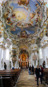 Weiskirche has Rococo splendor everywhere; quite amazing to see.  To capture more of it in one image, I took 7 horizontal shots, from above my head to the floor, stacked them vertically and stitched them together in this vertical panorama.