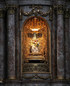 In the wall behind the altar is housed this statue of Mary and Jesus, deemed miraculous by the Pope in 1328, which led to the establishment of the monastery to house it and the church to accommodate the resulting pilgrimage.