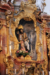 "This is the statue of the ""scourged"" (whipped) Christ which presumably wept in 1738 and attracted the pilgrims."