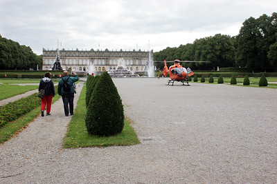 This helicopter took off just as we arrived; don't know what it was doing there.  I could imagine that Ludwig would have found such transportation in his day to be very useful to move from castle to castle!