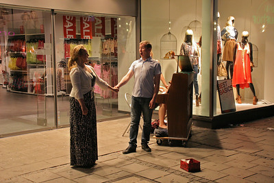 Operatic street performers in the old downtown of Munich in the evening