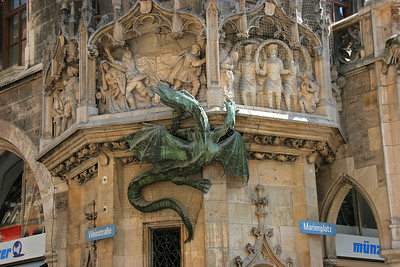 One corner of the New City Hall (Neues Rathaus).  It is a very ornate building, but I don't remember the story behind the dragon climbing the wall and threatening the town.
