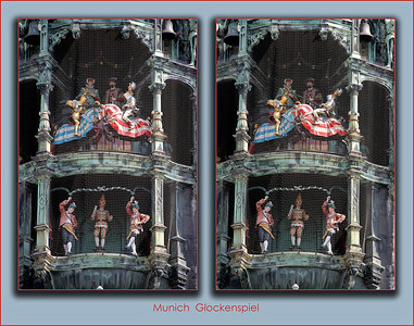 "The glockenspiel ""action"" includes a pair of knights in a joust.  At left, top, they pass by the first time without actually jousting.  At right, top, they come at each other again, and this time the blue knight's lance knocks the red knight for a loop!"