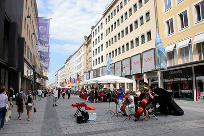 Typical street in the very extensive pedestrian zone of downtown Munich.