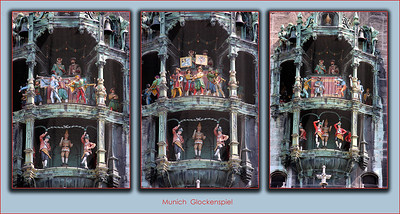 A sequence of 3 shots of the glockenspiel, showing you only some of the many different characters that do things while the clock chimes the hour.