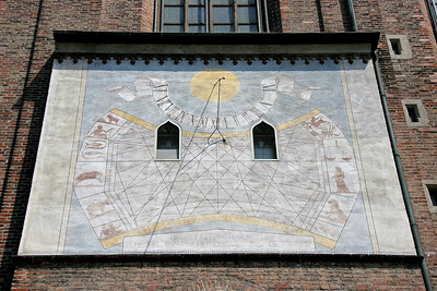 A very complicated sundial on the exterior wall of Frauenkirche.
