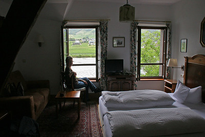 We arrive in Beilstein, our home base for two days in the Mosel River Valley.  This is our room in the hotel, with its view over the Mosel River.