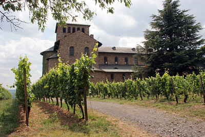 Church among the vineyards of Johannisberg Castle.
