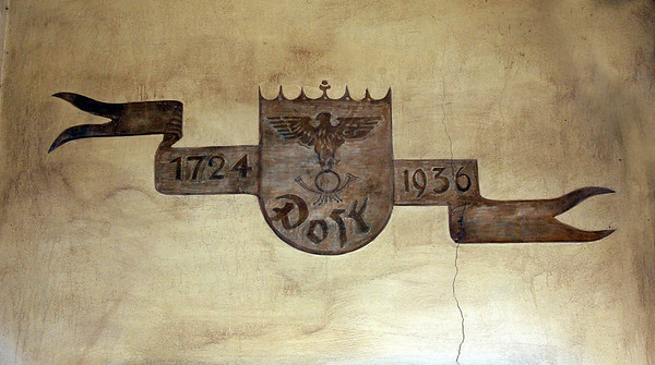 Emblem over the door of the Bacharach post office.  1936 would seem significant, as that was the heart of the Nazi era.