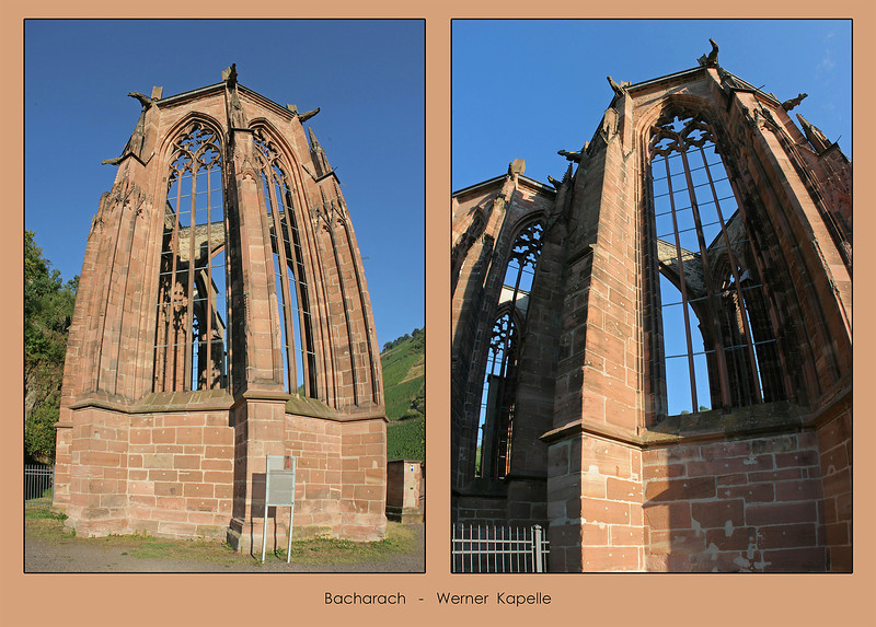 2 multi-mage panoramas (horizontal images stacked vertically) taken from close to the base of the ruined Werner Kapelle.