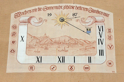 I like interesting and different sundials.  This one shows a view of Bacharach from the river.