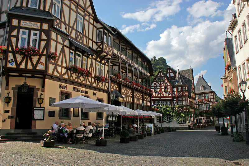 Downtown central plaza of the small town of Bacharach.