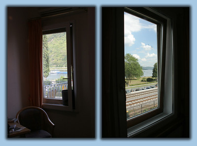 Two views out our hotel window.  On the left, our great view of the Rhine and its frequent barge traffic.  On the right, you can see we are right next to the train tracks.  The hotel's remarkable windows, when closed, did a great job of keeping out  the noise of the many trains rushing by.