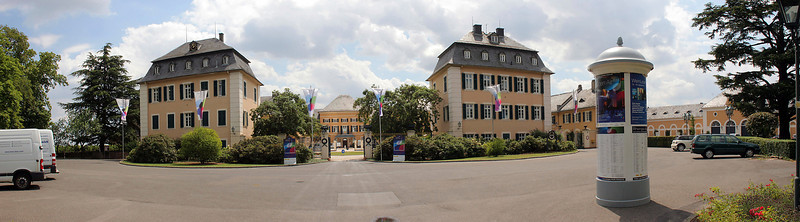 Multi-image pano of the Johannisberg Castle, a famous winery along the Rhine.