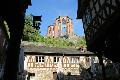 The ruins of Werne Kapelle (chapel) seen from the courtyard of the old city hall.