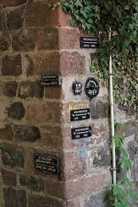 The heights of floods from the Rhine River over the centuries are marked on the city walls.