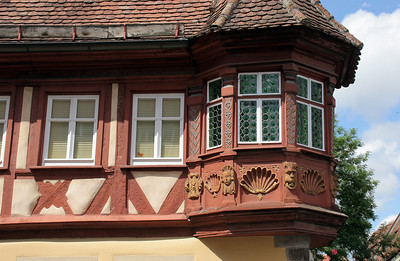 Medieval details on a house on Market Square.