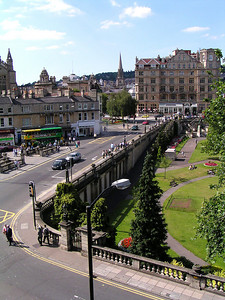 The view out our hotel room window in Bath.