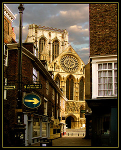 A view of Yorkminster from old town York in the early morning.