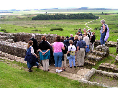 A lecture from our tourguide about Roman toilets and sewers in Houstead's Fort on Hadrian's Wall.