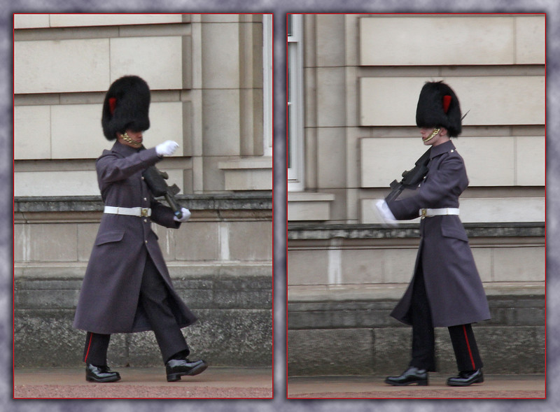 "<span style=""color:yellow;""> Buckingham Palace guards on duty.  </span>"