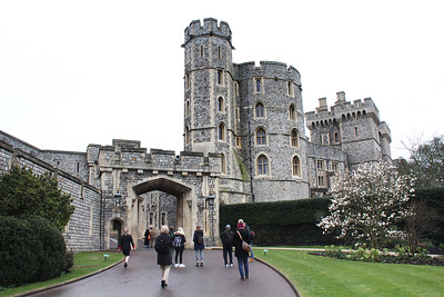 Approaching the visitor's entrance.  Like many of the royal castles, Windsor is still used by the royal family.