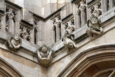 St. George's Chapel is guarded by these many stone figures in its masonry.