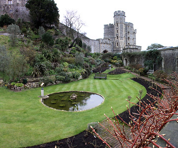 The garden area surrounds the most fortified part of the castle.