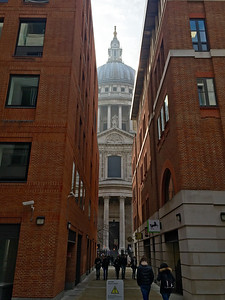 A short ride on the underground, and then walking between tall building until I see the dome of St. Paul's Cathedral.