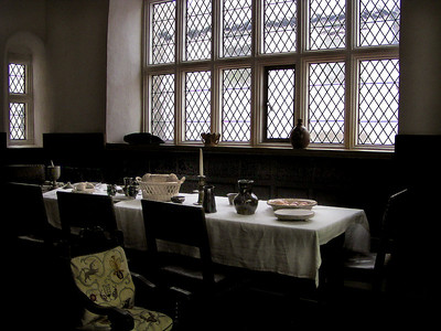 Dining room of Plas Mawr, an historical house from the Elizabethan era.