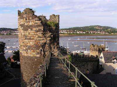 "A late afternoon walk on top of the old town walls of Conwy (pronounced ""con-wee"")."