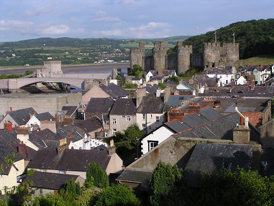 Conwy Castle as seen from the top of the town walls.