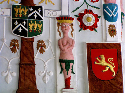 Details of Elizabethan wall decorations, Plas Mawr historical house, Conwy, Wales.