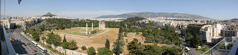 A 7-image panorama of the view to the east, overlooking the remains of the Temple of Olympian Zeus.