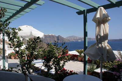 The view from our front porch at our B&B in Oia.
