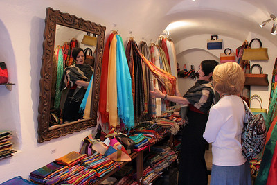 Back out in Oia for the evening ... shopping for silk scarves for the girls back home.