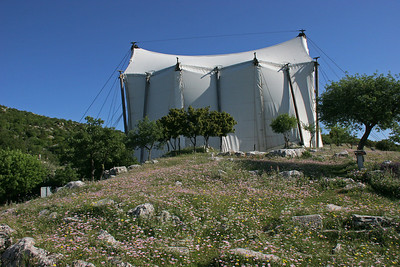 Most of the temple still stands, but has suffered greatly from the elements.  While millions of euros are raised for its restoration, it has been encased in a large tent to protect it.