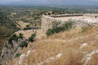 The palace walls at the highest point of the hilltop city of Mycenae.