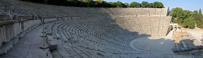 Epidaurus is an extensive 6th-2nd century BC site which was a therapeutic and religious center.  But it's most famous site by far is the classic Greek theater which is one of the best preserved anywhere.  This is a 6-image panorama.  Taken in the early morning right after the site opened, with nobody else around; we had it all to ourselves!