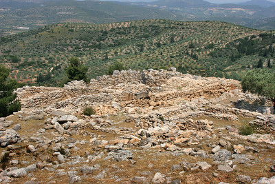 Looking from inside the hilltop city of Mycenae out over the surround landscape.