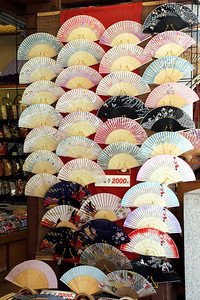 Fans are really used in Japan, and by virtually everyone!  A display in a shop as we climb the steep streets to Kiyomizu-dera temple.