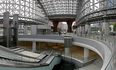 4 vertical shots, stitched side by side, to capture the architecture of Kanazawa's train station.