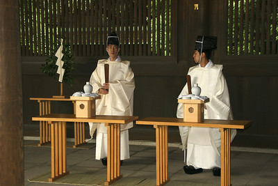 Shinto functionaries of some kind, participating in one of the weddings.