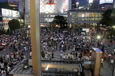 Looking down from a department store window on the street crowds in Shibuya.  The Japanese seem to love to shop!